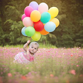 Up up and away by Christina Smith - Babies & Children Child Portraits ( adorable, toddler, balloons, wildflower field, twisted images photography,  )