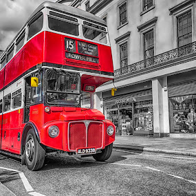 London Number 15  by Balazs Romsics - Buildings & Architecture Public & Historical ( red bus, london, double decker )