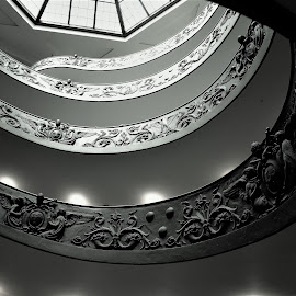 way up by Karel Kotrč - Buildings & Architecture Other Interior ( spiral staircase, black and white, way up, people, backstairs )