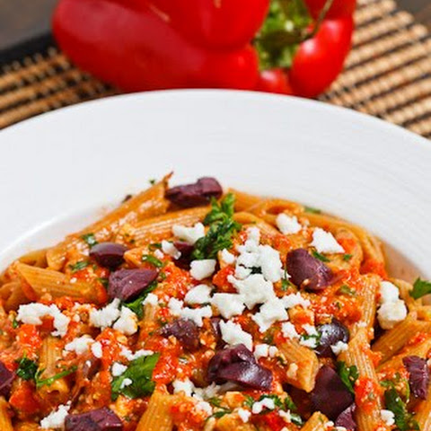 Roasted Red Pepper Pesto Pasta with Feta and Kalamata Olives
