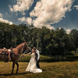 Equestrian Wedding by Joseph Humphries - Wedding Bride & Groom ( clouds, wedding, horse, bride, rustic, groom, rural, equestrian )