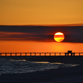 Sun, Clouds, and the Pier by Barry Lehman - Landscapes Sunsets & Sunrises ( gulf shores, sunset, pier, beach, alabama,  )