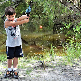 Grandson 1st fish! by Priscilla Renda McDaniel - Babies & Children Children Candids ( child, 4yrs old, 1st fish, happy, lake, fishing )