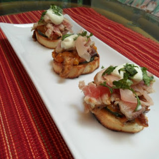 Tuna Sushi Bruschetta with Orange Shiitake Marmalade and Wasabi Crema