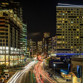 Seaport Blvd Boston by Carl Albro - City,  Street & Park  Street Scenes ( nighttime, street scene, cityscape, car lights )