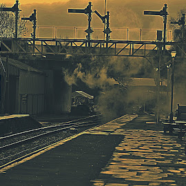 Steam  away  into  the  night by Gordon Simpson - Transportation Trains
