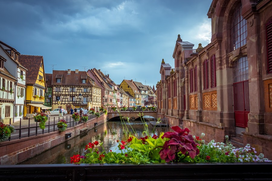 Bridge view by Luis Silva - City,  Street & Park  Street Scenes ( colors, france, bridge, flowers, alsacia, colmar )