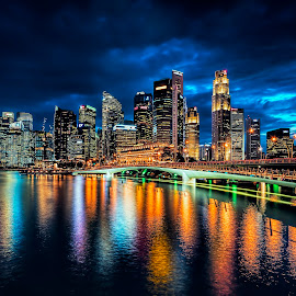 Shenton Blue Hour Skyline by Gordon Koh - City,  Street & Park  Skylines ( shenton way, reflection, skyline, colors, vibrant city, singapore, nightscape, cbd, skyscraper, vibrance, waterftont, vista, asia, long exposure, night, jubilee bridge )