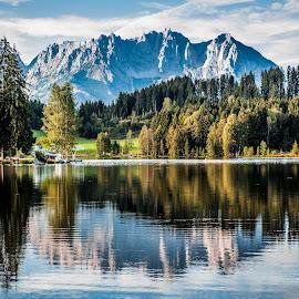 Reflecting On Austria by Lazy Desperados - Landscapes Mountains & Hills ( reflection, mountains, sunset, lake, austria, alps )