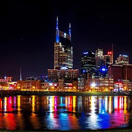 Nashville Skyline by Eric Wellman - City,  Street & Park  Skylines ( reflection, skyline, night, river, city )