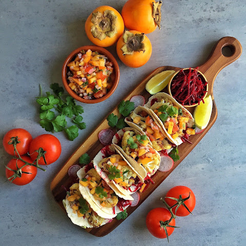 Charred Cauliflower Tacos with Persimmon Salsa & Beet Slaw
