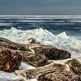 icey lake by Fraya Replinger - Landscapes Waterscapes ( lake michigan, icewater, ice, lake, frozen )