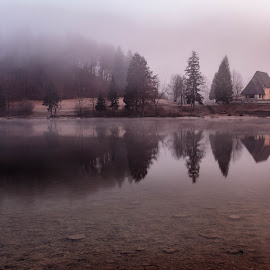 Lake Bohinj by Miroslav Asanin - Landscapes Travel ( water, reflection, europe, church, waterscape, tourism, lake, forest, travel, landscape, canon eos, exploration, adventure, foggy, nature, travel location, fog, outdoors, slovenia, outside, misty,  )