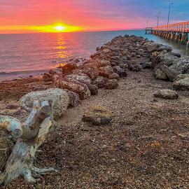 pink sunrise  by Taz Graham - Novices Only Landscapes ( sky, jetty, sunrise )