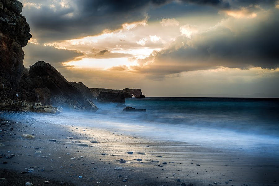Heaven is a place on Earth! by Stavros Troullinos - Landscapes Beaches ( beachrock, waterscape, sunset, greece, wave, rethymno, crete, seascape, beach,  )