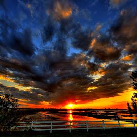 Fence Line by DE Grabenstein - Landscapes Sunsets & Sunrises