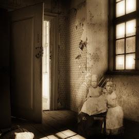 i once lived here by Kathleen Devai - Digital Art People ( sepia, vintage, children, ghost, shadows, room )