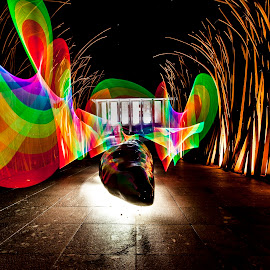 Colors at Night by Nigel Hawkins - Buildings & Architecture Statues & Monuments ( australia, lightpainting, canberra, monument, night, scultpure, night scape,  )