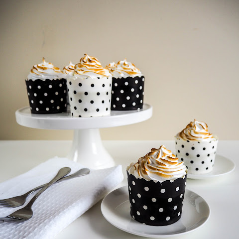 Chocolate Banana Cupcakes with Butterscotch and Toasted Meringue