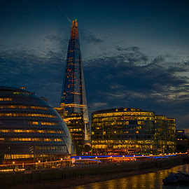 The Shard by Night by Stephen Hall - City,  Street & Park  Night ( lights, shard, thames, london, night, river )