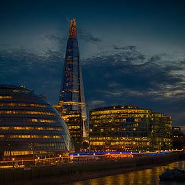 The Shard by Night by Stephen Hall - City,  Street & Park  Night ( lights, shard, thames, london, night, river )