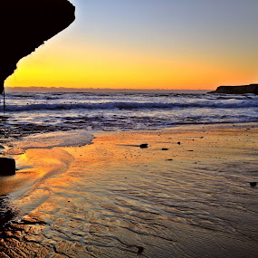by Derek Gibbins - Instagram & Mobile iPhone ( sand, sunset, ocean, beach, rocks )
