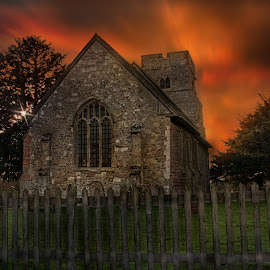 by Dave Godden - Buildings & Architecture Places of Worship ( church, trust, kent, glare, st mary, old burham church, medway, st mary burham, rays, sun, conservation, church conservation trust, river medway, sunset, sunrays, st mary old burham, flare, river )