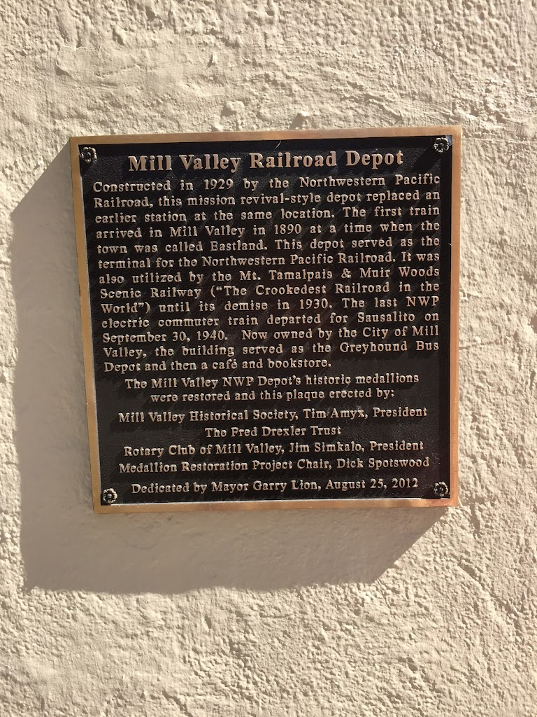 Mill Valley Railroad Depot Constructed In 1929 by the Northwestern Pacific Railroad, this mission revival-style depot replaced an earlier station at the same location. The first train arrived in Mill ...