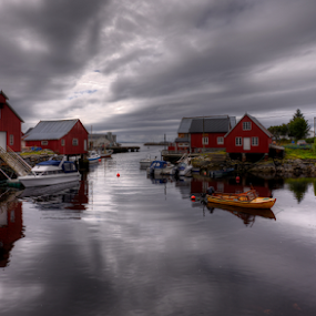 Harmony by Rune Askeland - City,  Street & Park  Neighborhoods ( canon, clouds, boats, reflections, harmony, norge, bud, boathouses, møre&romsdal, norway )