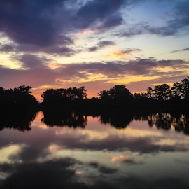 Sunset on the Lake by Janice Mcgregor - Landscapes Sunsets & Sunrises ( clouds, water, reflection, sunset, outdoors, contest, lake, outside,  )