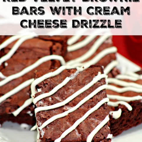 Red Velvet Brownie Bars with Cream Cheese Drizzle