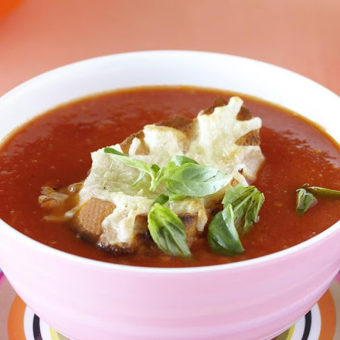 Roasted Tomato Soup with Cheesy Croutons