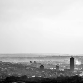 Johannesburg by fog by Barbara Springer - City,  Street & Park  Skylines ( metropolis, black and white, grey, cityscape, africa, big city, capital )