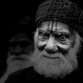 THE PRIEST by Rahul Chowdhury - People Portraits of Men ( religion, hindu, priest, old, spiritual, black and white, beard, holy, india, devotion, sacred, man,  )