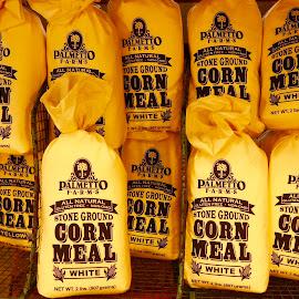 Corn Meal Bags by Dave Feldkamp - Food & Drink Cooking & Baking ( corn meal, corn meal bags, yellow bags, yellow, bags )