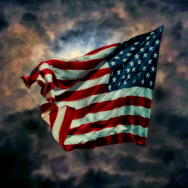 Old Glory by Dorothy Plumb - Public Holidays July 4th ( clouds, old glory, flags, red white and blue, america, symbol, american flag, white, waving, symbolic, storm clouds, flap, patriotism, united states, united states of america, patriot, red, flag, blue, fly, patriotic, flutter, wave )