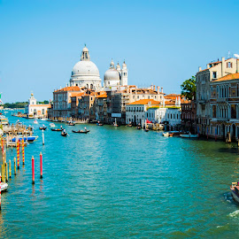 Grand Canal in Venice by Ivana Kreko - Landscapes Travel ( grande, gondola, church, venice, summer, sea, boat, canal, italy )