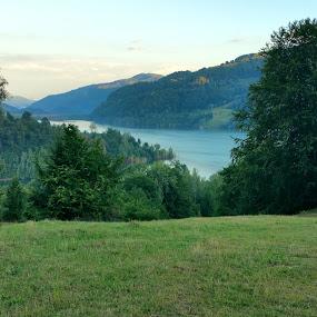Mountain lake view by Diana-Marinela Micu - Landscapes Mountains & Hills ( water, mountain, sunset, trees, lake, high, daylight )