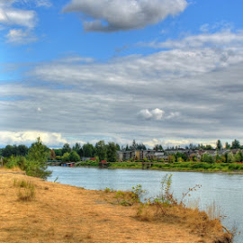 Brae Island Shoreline by Ernie Kasper - Landscapes Travel ( fence, houses, fraser river, canada, wood, langley, fort langley, candid, scenery, architecture, people, river )