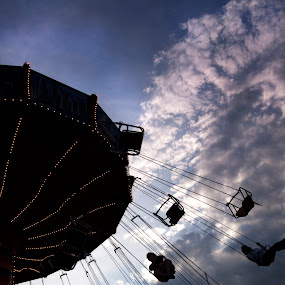 clouds and wheel by Cristobal Garciaferro Rubio - City,  Street & Park  Vistas ( clouds, sky, wheel, fly, flying chairs )