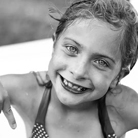 Pool time black & white by Heather Tuckness Sottosanti - Babies & Children Children Candids ( black and white, candid, summer fun, pool party, summer time )