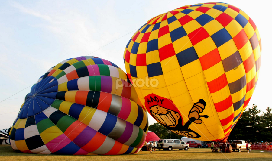 Balloons filling up by Sharon Scholtes - Transportation Other