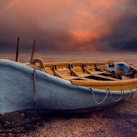 Abandoned ... by Anupam Hatui - Transportation Other ( colors, sunset, dark, landscape, boat, abandoned )