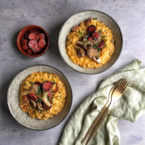 Butternut Squash Barley Risotto with Oyster Mushrooms & Chorizo