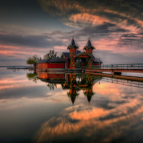 Reflection by Cvetka Zavernik - Buildings & Architecture Bridges & Suspended Structures ( hungary, building, reflection, arhitecture, lake, bridge, morning )