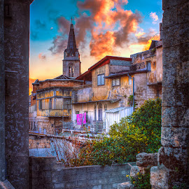 Nazareth The Old City ` by Shareef Saadi - Buildings & Architecture Homes ( clouds, nazareth, old, warm, church, sunset, green, vibrant, homes, holy land, sun )