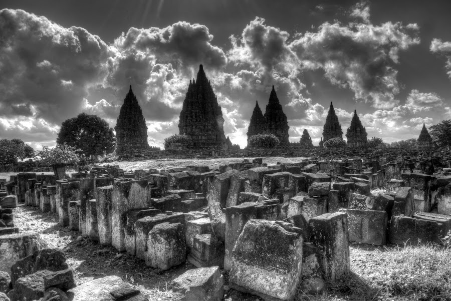 Prambanan Mistique by Ferdinand Neman - Landscapes Travel ( temple, hdr, black and white, pwcbwlandscapes, prambanan )