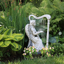 Angel in the Garden by Ruth Sano - Artistic Objects Other Objects ( angel, green, plants, flowers, photography )