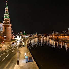 Kremlin by Antonello Madau - City,  Street & Park  Night