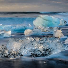 Breiðamerkursandur by Ade Russell - Landscapes Beaches ( iceland, icebergs, breiðamerkursandur, jökulsárlón, black sand beach, glacier lagoon )